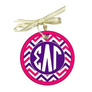 Sigma Lambda Gamma Holiday Sorority Round Frosted Glass Ornament