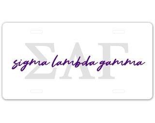 Sigma Lambda Gamma Letter Script License Plate