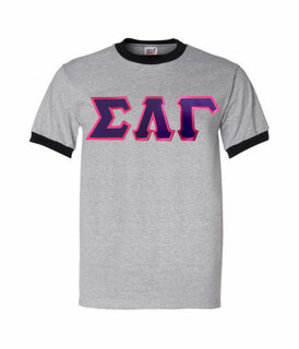 DISCOUNT-Sigma Lambda Gamma Lettered Ringer Shirt