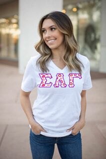 DISCOUNT-Sigma Lambda Gamma Lettered V-Neck Tee