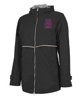 Sigma Lambda Gamma New Englander Circle Nickname Rain Coat