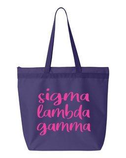 Sigma Lambda Gamma Script Tote Bag