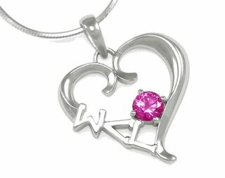 Sigma Lambda Gamma Sterling Silver Heart Pendant with Swarovski Pink Crystal