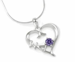 Sigma Lambda Gamma Sterling Silver Heart Pendant with Swarovski Purple Crystal