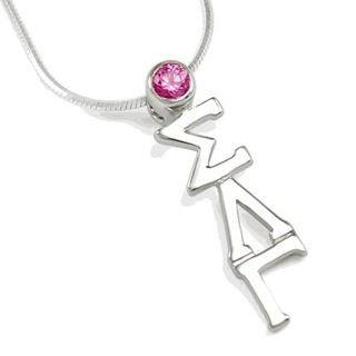 Sigma Lambda Gamma Sterling Silver Lavaliere Pendant with Swarovski� Pink Crystal