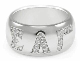 Sigma Lambda Gamma Sterling Silver Ring with Pave Cubic Zirconia Greek Letters