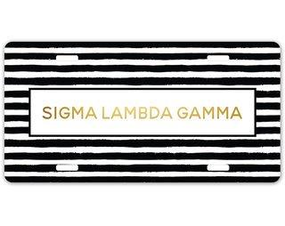 Sigma Lambda Gamma Striped Gold License Plate