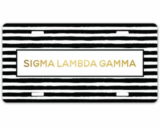 Sigma Lambda Gamma Striped License Plate