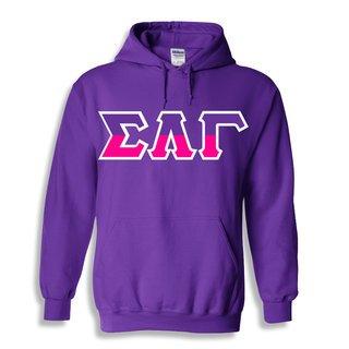 Sigma Lambda Gamma Two Tone Greek Lettered Hooded Sweatshirt