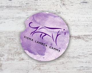 Sigma Lambda Gamma Watercolor  Sandstone Car Cup Holder Coaster