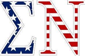 "Sigma Nu American Flag Greek Letter Sticker - 2.5"" Tall"