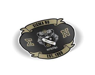Sigma Nu Banner Crest - Shield Decal