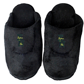 DISCOUNT-Sigma Nu Black Solid Letter Slipper
