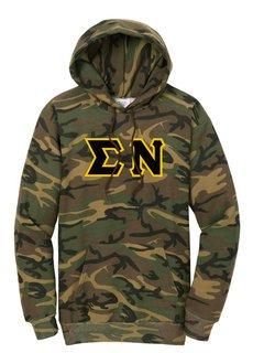 DISCOUNT-Sigma Nu Camo Pullover Hooded Sweatshirt