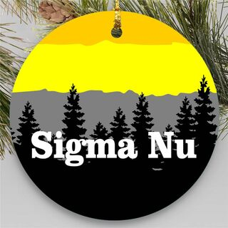 Sigma Nu Christmas Mountains  Round Ornaments