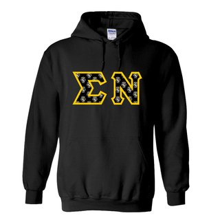Sigma Nu Fraternity Crest - Shield Twill Letter Hooded Sweatshirt