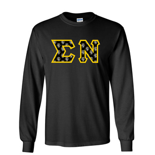 Sigma Nu Fraternity Crest - Shield Twill Letter Longsleeve Tee
