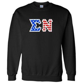 DISCOUNT-Sigma Nu Greek Letter American Flag Crewneck