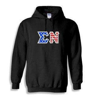 DISCOUNT-Sigma Nu Greek Letter American Flag Hoodie