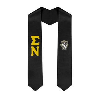 Sigma Nu Greek Lettered Graduation Sash Stole With Crest