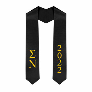 Sigma Nu Greek Lettered Graduation Sash Stole With Year - Best Value
