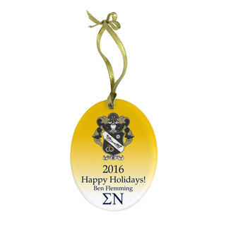 Sigma Nu Holiday Color Crest - Shield Glass Ornament