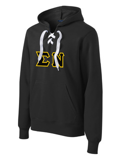 DISCOUNT-Sigma Nu Lace Up Pullover Hooded Sweatshirt