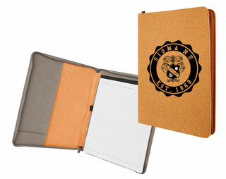 Sigma Nu Leatherette Zipper Portfolio with Notepad
