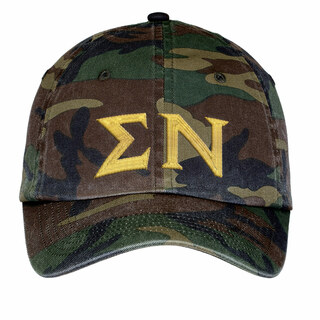 Sigma Nu Lettered Camouflage Hat