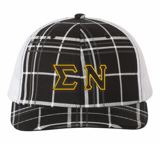 017f5bad07b Sigma Nu Plaid Snapback Trucker Hat