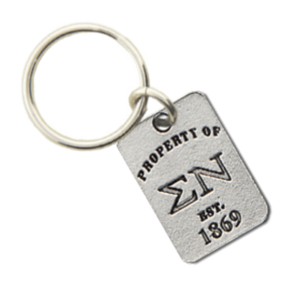 Sigma Nu Property of Tag Keychain