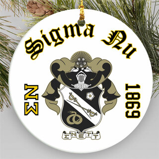 Sigma Nu Round Christmas Shield Ornament