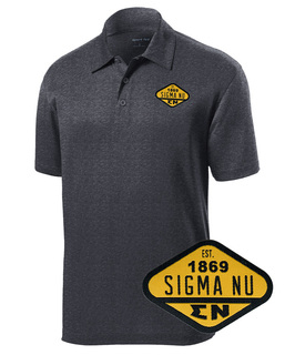 DISCOUNT-Sigma Nu Woven Emblem Greek Contender Polo