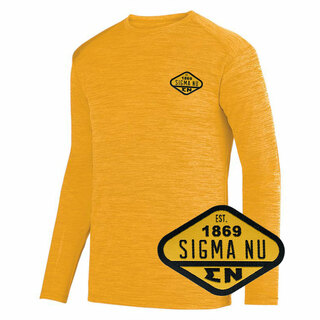 DISCOUNT-Sigma Nu Woven Emblem Greek Dry Fit Tonal Long Sleeve Tee