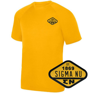 DISCOUNT-Sigma Nu Woven Emblem Greek Dry Fit Wicking Tee