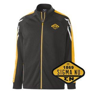 DISCOUNT-Sigma Nu Woven Emblem Greek Flux Track Jacket