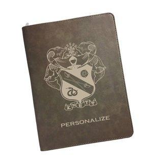 Sigma Nu Zipper Leatherette Portfolio with Notepad