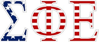 "Sigma Phi Epsilon American Flag Greek Letter Sticker - 2.5"" Tall"