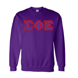 Sigma Phi Epsilon Fraternity Crest - Shield Twill Letter Crewneck Sweatshirt