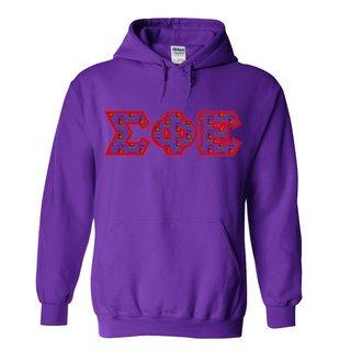 Sigma Phi Epsilon Fraternity Crest - Shield Twill Letter Hooded Sweatshirt