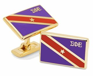 Sigma Phi Epsilon Gold Plated Flag Cufflinks