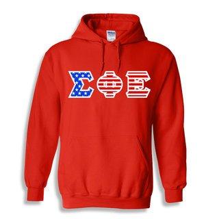 DISCOUNT-Sigma Phi Epsilon Greek Letter American Flag Hoodie
