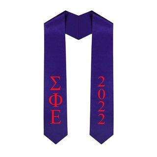 Sigma Phi Epsilon Greek Lettered Graduation Sash Stole With Year - Best Value