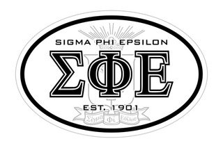 Sigma Phi Epsilon Oval Crest - Shield Bumper Sticker - CLOSEOUT