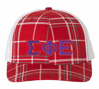 Sigma Phi Epsilon Plaid Snapback Trucker Hat - CLOSEOUT