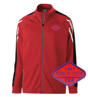 DISCOUNT-Sigma Phi Epsilon Woven Emblem Greek Flux Track Jacket