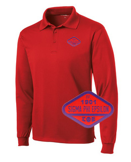 DISCOUNT-Sigma Phi Epsilon Woven Emblem Greek Long Sleeve Dry Fit Polo
