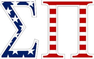 "Sigma Pi American Flag Greek Letter Sticker - 2.5"" Tall"