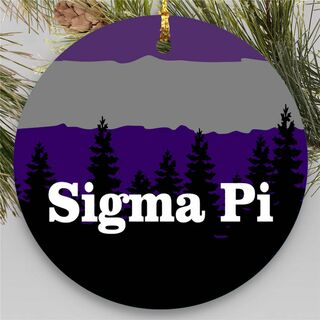 Sigma Pi Christmas Mountains Round Ornaments