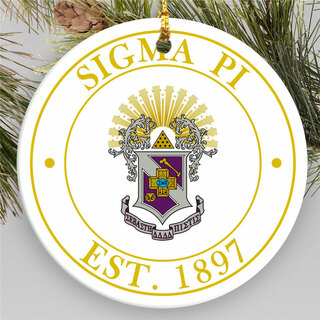 Sigma Pi Circle Crest Round Ornaments